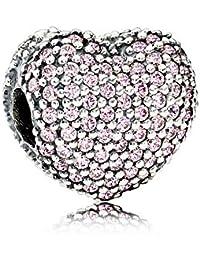 Pandora Clip Charm Pink Heart-Shaped Beaded Bracelet