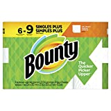 Bounty Paper Towels, White 6 Single Plus Rolls = 9 Regular Rolls, 6 count