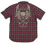 (バンソン)VANSON フライングスカル 総刺繍 オンブレチェック 半袖 ウエスタンシャツ NVSS-503 M RED(レッド×ブラック系)