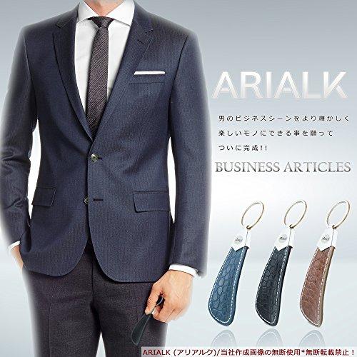 ARIALK (アリアルク) 靴べら レザー 携帯用 ビジネス 革 くつべら 短ヘラ 軽量 キーホルダー 付き 携帯 (ネイビー 2)