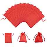 PandaHall 100枚セット 和風 コットン 麻 布 巾着袋 ラッピング袋 ギフトラッピング ジュエリーポーチ バッグ プレゼント用 収納袋 レッド 13.5x9.5cm