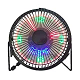 扇風機 卓上 クロックファン ミニ usb式 時間/温度表示 rgb扇風機 led (黒)