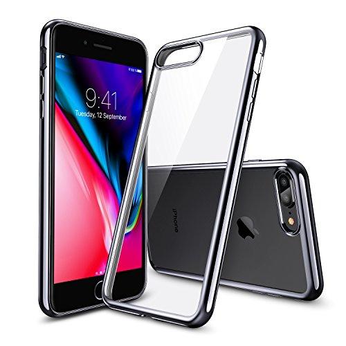 iPhone8 Plus ケース クリア ESR iPhone7 Plus カバー ソフトTPU [衝撃吸収 薄型 超軽量 傷防止 指紋防止 ワイヤレス充電に影響なし] クリスタル 高透明 iPhone8 Plus/iPhone7 Plus通用(ブラック)