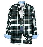 【 UN ANANAS 】 チェック シャツ おしゃれ デザイン メンズ レディース シンプル 合わせやすい ジーパン スニーカー グリーン アイボリーグリーン(アイボリーグリーン3XL)