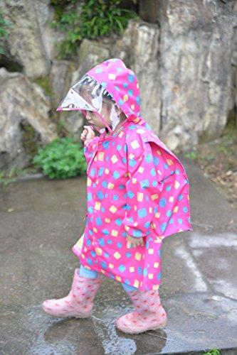 レインコート キッズ Sanaris レインウェア キッズ 子供用 レインコート レインポンチョ ランドセル 防水 かっぱ 専用ポーチ付き 梅雨対策 通園 通学 透明バイザー付き 全2色 (XL, レッド)