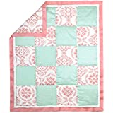 Coral Pink and Mint Medallion 100% Cotton Baby Crib Quilt by The Peanut Shell by The Peanut Shell