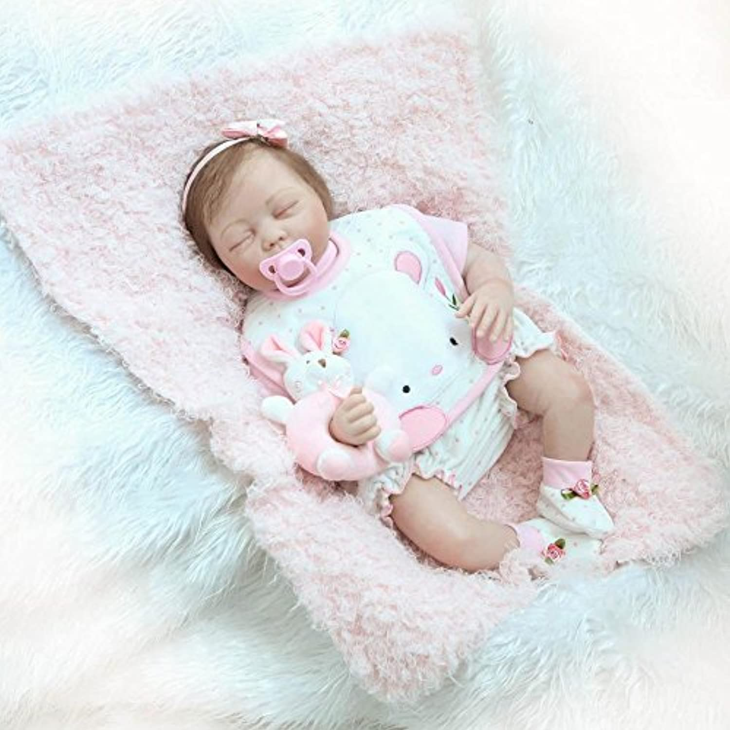 NKol Reborn Baby Dolls Soft Silicone Lifelike Realistic Sleeping Girl Toddlers Doll, 22inch 55cm Weighted Baby Toy