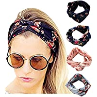 4 Pack Women Elastic Headband Boho Floal Style Criss Cross Head Wrap Hair Band Twisted Cute Hair Accessories