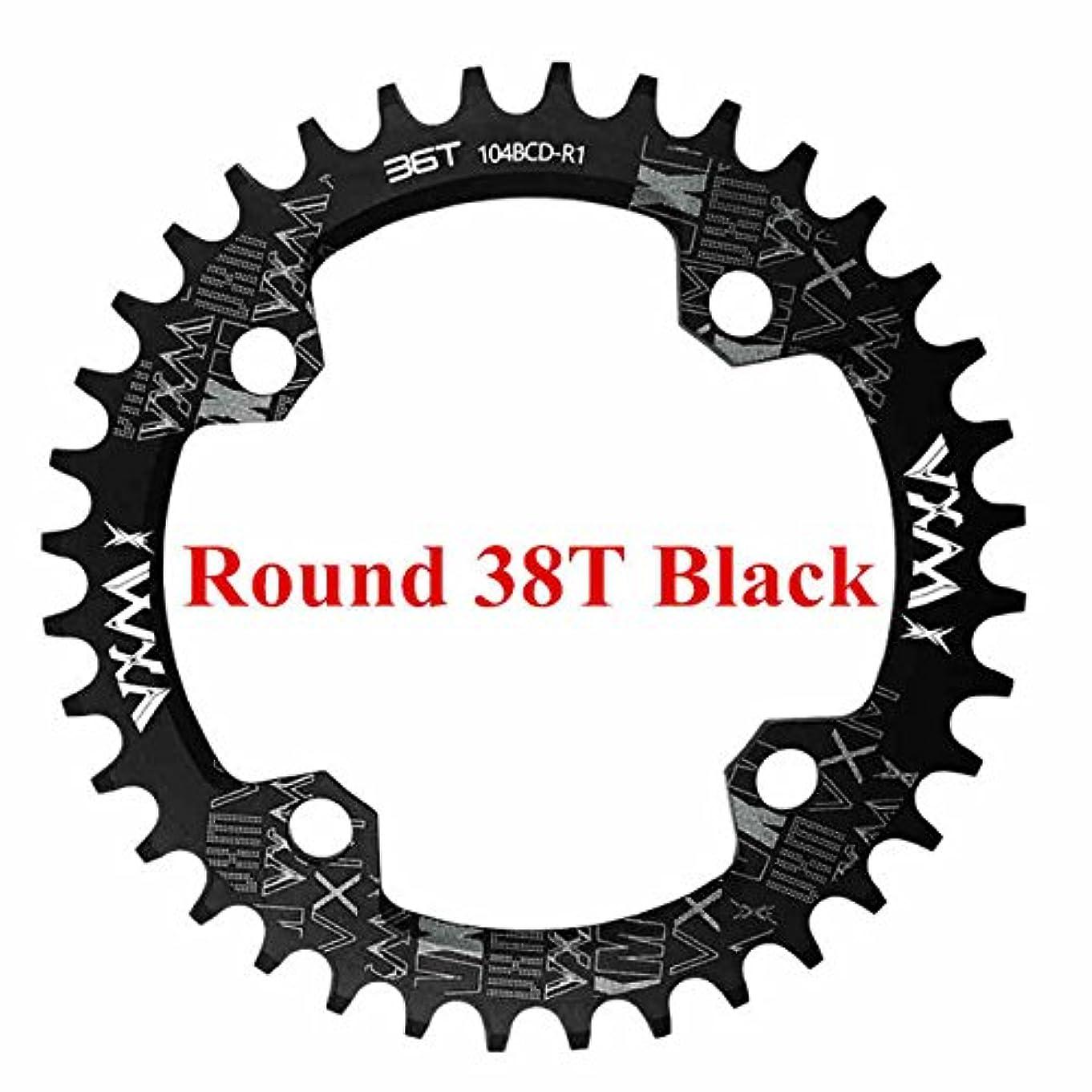 兵器庫十分な教えPropenary - 自転車104BCDクランクオーバルラウンド30T 32T 34T 36T 38T 40T 42T 44T 46T 48T 50T 52TチェーンホイールXT狭い広い自転車チェーンリング[ラウンド38Tブラック]