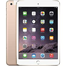 Apple iPad Mini 3 64GB 4G + Wi-Fi 4G LTE w/Siri & TouchID, Gold (Renewed)