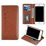 アディダス リュック KOBWA iPhone7 Plus 手帳型 スマホケース PUレザー ウォレット 財布型 5.5インチ アイフォンカバー カードホルダー 大容量 ハンドバッグ 多機能 ライトブラウン