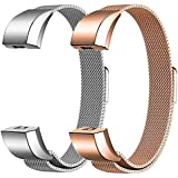 "For Fitbit Alta HR and Alta Bands Metal Small Large (5.5"" - 9.9""), Swees Milanese Stainless Steel Replacement Band for Fitbit Alta HR and Alta Women Men, Silver, Black, Rose Gold, Colorful, Champagne"