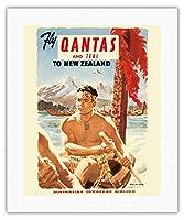 ニュージーランドにカンタス航空とTEALフライ - カンタス航空 - オーストラリアの海外航空会社 - マオリ戦争カヌー - ビンテージな航空会社のポスター c.1954 - キャンバスアート - 41cm x 51cm キャンバスアート(ロール)