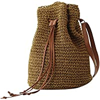 Abuyall Women Straw Crossbody Shoulder Bag Drawstring Bucket Summer Beach Bag