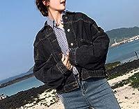 Kerwinner 女性用ルーズショートストレッチデニムジャケット (Color : Black, Size : L)