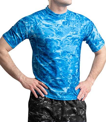 Aqua Design Rash Guard Men Swim Shirt: Mens Short Sleeve Sun Protection Surf Camo Rashguard: Royal Ripple: Size 4XL