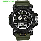 DeeploveUU 三田742腕時計30メートル防水ミリタリーショッククォーツ腕時計発光アナログデジタルファッション屋外スポーツ腕時計用男性