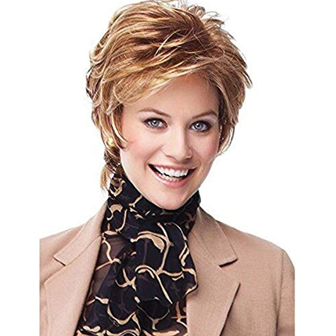 職人ご予約一般的に言えばYOUQIU 女性コスプレパーティー日常のかつら用キャップ付ショートカーリーウィッグ魅力的な女性ボブウィッグ (色 : Blonde)
