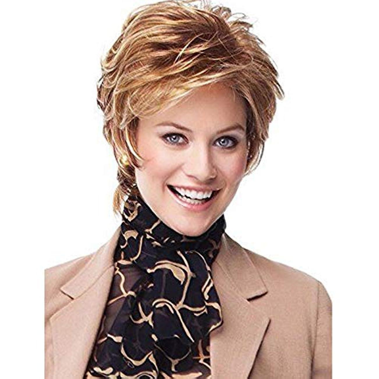 記念品ギャンブル逃げるYOUQIU 女性コスプレパーティー日常のかつら用キャップ付ショートカーリーウィッグ魅力的な女性ボブウィッグ (色 : Blonde)