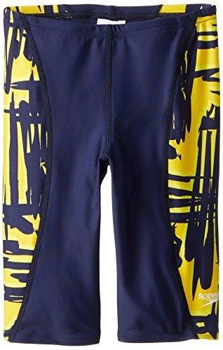 Speedo Big Boys' Boy's Must Be It Jammer Swimsuit, Navy/Gold, 22 [並行輸入品]