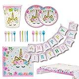 Toyvian ユニコーン子供の誕生日祭りパーティーアレンジメントお祝い用品紙コッププレートテーブルクロスセット
