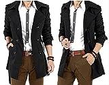 (アルファーフープ) α-HOOP メンズファッション 無地 スーツ ビジネス カジュアル トレンチ コート 長袖 アウター 上着 大きいサイズ S ~ XL 大人 男 性 用 QP-R (04.黒(XLサイズ.))