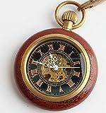 (よんピース)4 piece ウッド懐中時計 機械式 KH0074