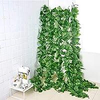 人工観葉植物 壁掛け フェイクグリーン インテリア飾り 造花ツル アイビー イミテーショングレープツル 葉 藤 緑 ホーム パーティー 結婚式 2.3m 10本入り