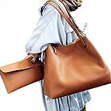 (ガラ-ボ) バッグ レザーバッグ かばん 鞄 2つセット 通勤 通学 就職活動 大人 きれいめ A4 入る 学生 (ブラウン)