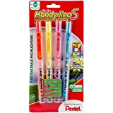 Pentel Handy-line S Retractable Highlighter, Chisel Tip, Assorted Ink Colors, 4/ Pack (SXS15BP4M)
