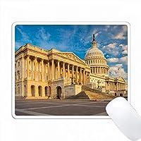 早朝に米国議会ビル、ワシントンDC、米国の下に。 PC Mouse Pad パソコン マウスパッド