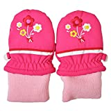 ベビーサイズ ミトン手袋 スノー手袋 防寒 雪用手袋 お花刺繍 j-280002 1?2才用 ローズ