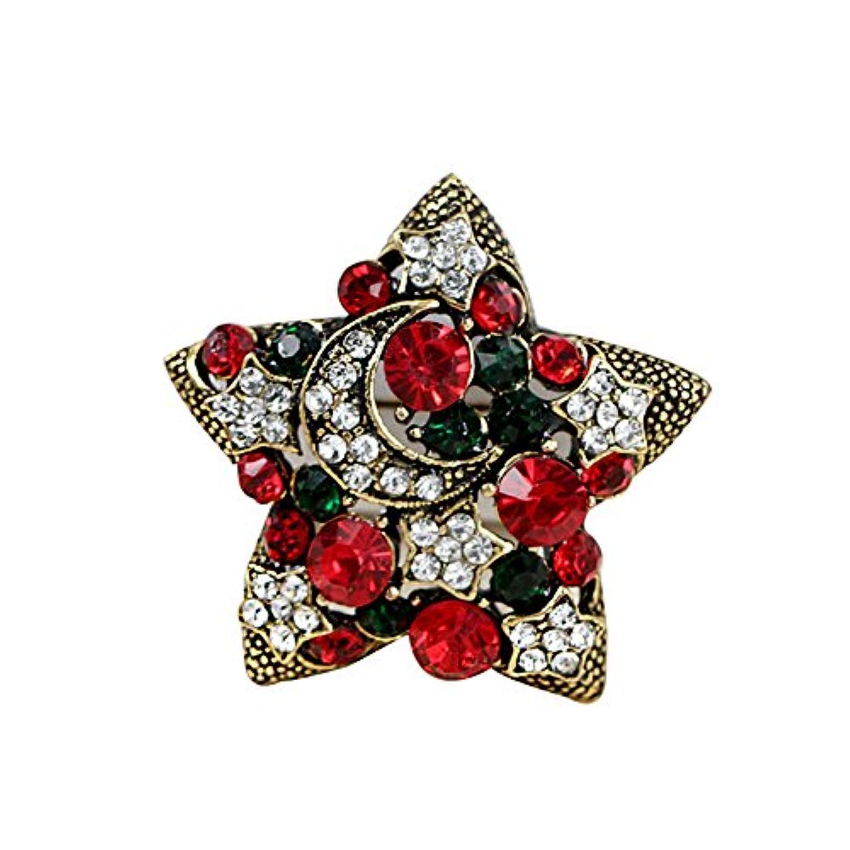 Doitsa ブローチ 胸元 ラインストーン 星 輝く クリスマス用品 プレゼント ギフト キラキラ ゴールデン