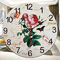 Wall Clockantique Look ShabbyティックレトロウォールクロックNo ticking Red
