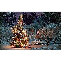 クリスマスツリーキャンバス絵画家の装飾壁アートリビングルーム用キッズ-60×90センチ×1個フレームなし