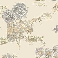 Manhattan Comfort NWPA34245 Mckeesport Floral Script Wallpaper%カンマ% Off-White