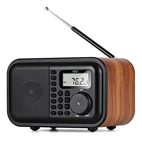 BESROY 最新版 ワイドFM対応 FMラジオ AMラジオ SWラジオ コンパクトデジタルラジオ スリープタイマー アラーム機能 18650可充電電池 usb充電 AUX機能付 Bluetoothスピーカー 木製 日本語取扱説明書