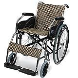 ケアテックジャパン 自走式 スチール製 折りたたみ 車椅子 ウィッシュ CS-10 ハーリキンチェック