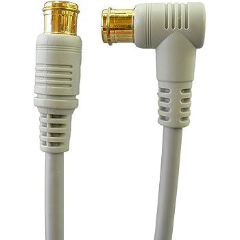 地デジ・BS・CS放送対応 アンテナケーブル 1m S4CFB 4C同軸ケーブル L型プラグとストレートプラグ/Z-010[バルク]