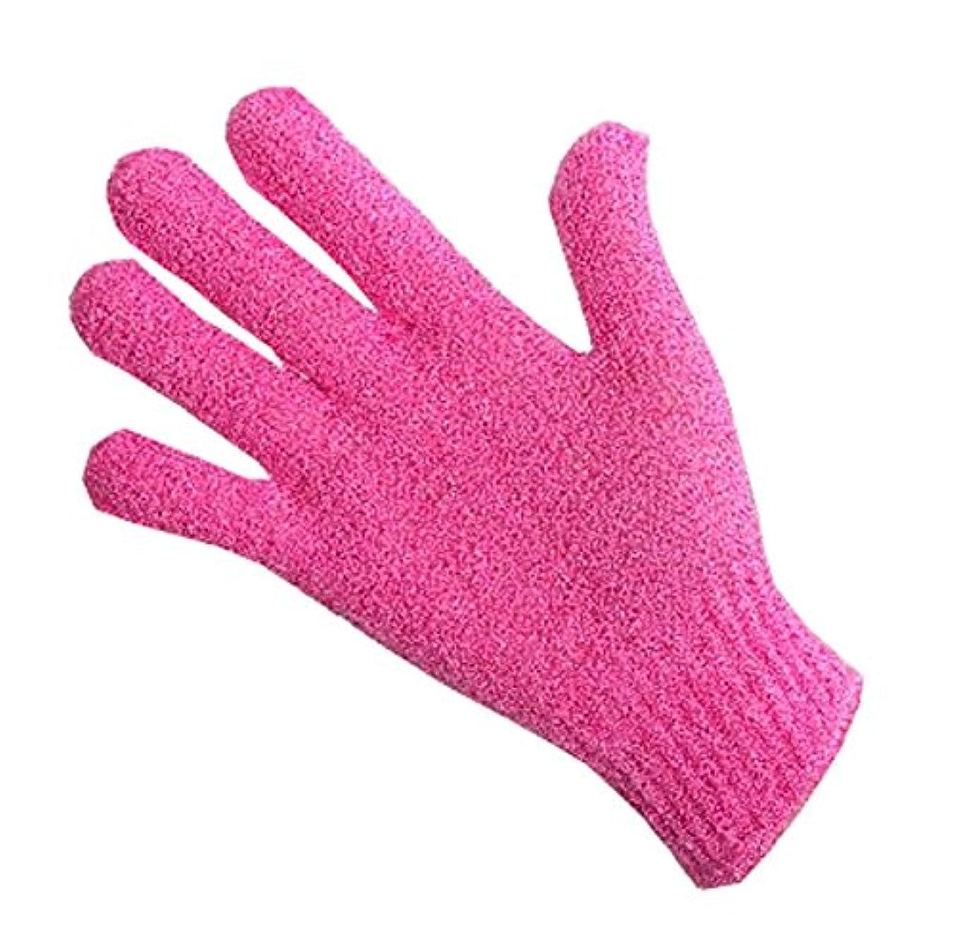 アンペア壮大なファウル指、バスタオルエクスフォリエイティングラビングタオルボディバック-1ペア、ピンク