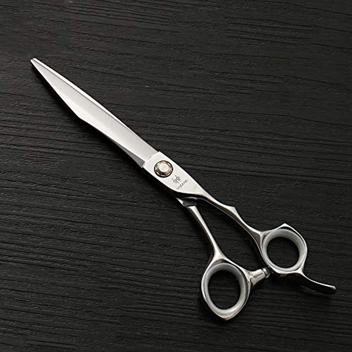 アレイ透過性神秘7.0インチナイフアックスビッグカットフラットせん断440 c高品質スチールペットストレートカット ヘアケア (色 : Silver)