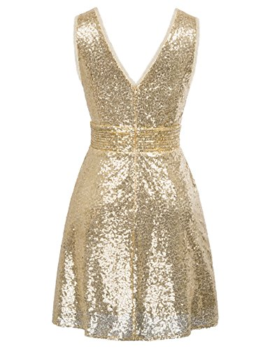 Kate Kasin Sleevesless Sequined Sparkling Bridesmaid Dress Pleated Prom Gown US14 KK1089 Gold