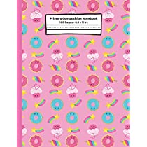 Donuts Primary Composition Notebook: Donut Gifts, Story Journal ~ Blank Dotted Midline Lined Paper ~ K2 School Note Book for Kids