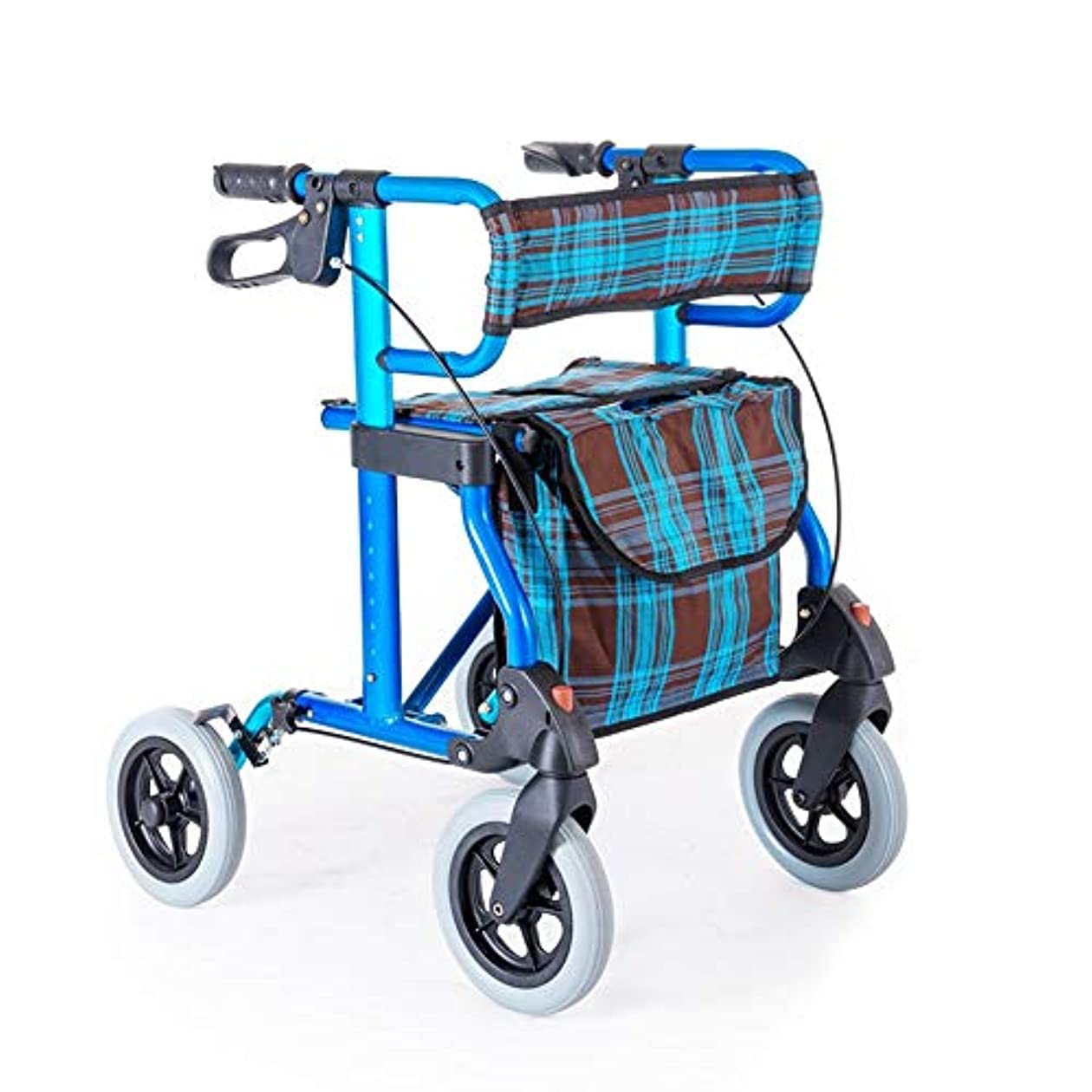 受け取る倉庫放牧するシートダブルセーフティブレーキ調整可能な高さ4ホイールローリング老人ショッピングカート付き軽量折りたたみ歩行器