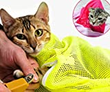 ShanTrip 不思議と落ち着く 猫 メッシュ ネット 爪切り シャンプー 病院や移動時に ねこ キャット ペット 用品 (ピンク)