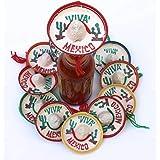 メキシコパーティー記念品 1ダース入り - 小さなソンブレロハット ミニサイズ ボトル用 メキシコ装飾 ビバ帽 メキシコ風 フィエスタ ストロー装飾用 カップケーキトッパー シンコデマヨ用品