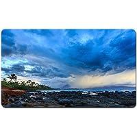 ハワイ、海岸、雲、嵐、ヤシの木、石、夕暮れ パターンカスタムの マウスパッド 海 デスクマット 大 (60cmx35cm)