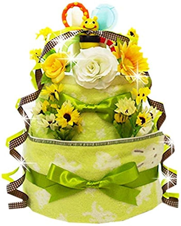 やさしい青お願いしますおむつケーキ ラブリーシュシュ グリーン オーガニック 出産祝い オムツケーキ 男の子 女の子 (パンパースはじめての肌へのいちばん テープM15枚)