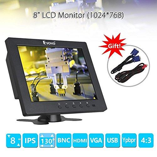 『Eyoyo 8インチ ディスプレイ 小型LCDカラービデオモニター スクリーン 1024x768 VGA BNC AV HDMI Ypbpr 機能付き PC CCTVホーム 入力』の1枚目の画像