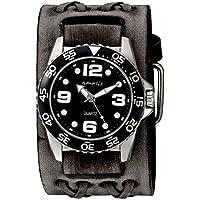 Nemesis Men's 'Groovy Series' Quartz Stainless Steel and Leather Watch, Color:Black (Model: VDXB097K)